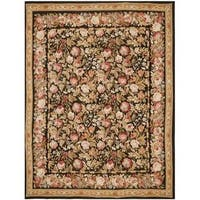 Handmade Safavieh Couture French Aubusson Flatweave Black/ Brown Wool Area Rug (China)