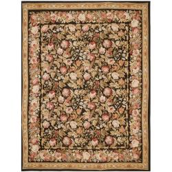 Hand-knotted French Aubusson Black Wool Rug (9' x 12')