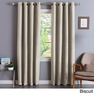 Aurora Home Faux Suede 84-inch Insulated Blackout Curtain Pair - 52 x 84 (Biscuit)