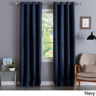 Aurora Home Faux Suede 84-inch Insulated Blackout Curtain Pair - 52 x 84 (Navy)