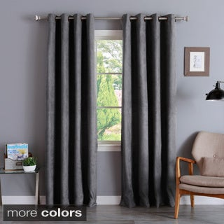 Aurora Home Faux Suede Grommet 84-inch Insulated Blackout Curtain Panel Pair - 52 x 84