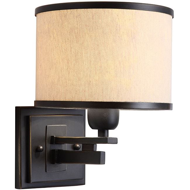 North Miami 1-light Black/ Beige Wall Sconce - Thumbnail 0