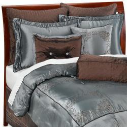 Chocolate Brown/ Blue Oversize 9-piece Comforter Set - Thumbnail 1