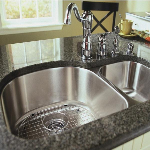 stainless steel 38 inch undermount 70 30 2 bowl kitchen sink stainless steel 38 inch undermount 70 30 2 bowl kitchen sink      rh   overstock com