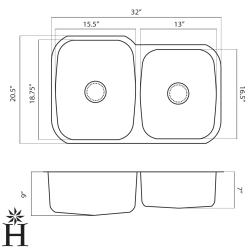 Highpoint Collection Stainless Steel 32-inch Undermount 60/40 2-bowl Kitchen Sink