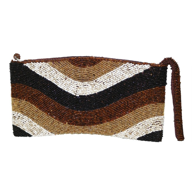 Handmade Beaded 'Caramel Waves' Handbag (Indonesia)