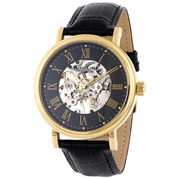 Stuhrling Original Men's 'Montague' Mechanical Skeleton Watch