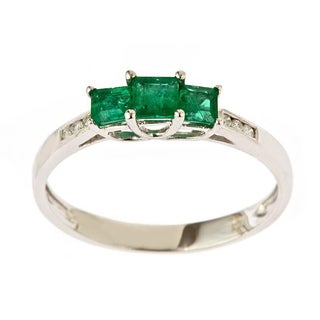 Anika And August 14k White Gold Emerald And 1 5ct TDW Diamond Ring I J I1 I2