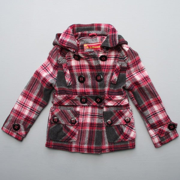 newest style of novel style great discount Shop Dollhouse Big Girl's Black Plaid Hooded Peacoat FINAL ...