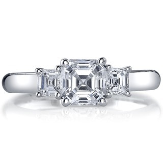 14k White Gold 1 1/2ct TDW Diamond 3-stone Engagement Ring