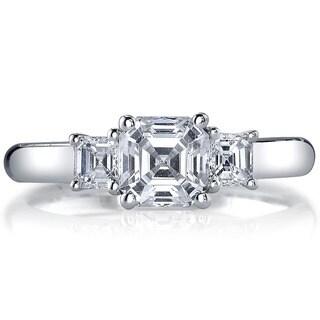 14k White Gold 1 1/2ct TDW Diamond 3-stone Engagement Ring