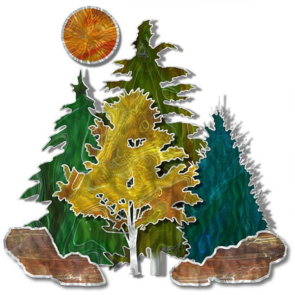 Shop Stever Heriot \'Metal Forest\' Metal Wall Art - Free Shipping ...