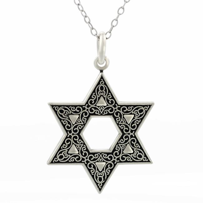 Journee Collection  Sterling Silver Oxidized Star of David Necklace