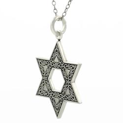 Journee Collection  Sterling Silver Oxidized Star of David Necklace - Thumbnail 1