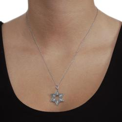 Journee Collection  Sterling Silver Oxidized Star of David Necklace - Thumbnail 2