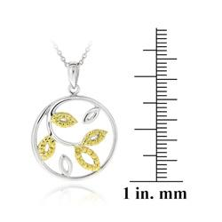 DB Designs 18k Gold Over Silver Yellow Diamond Accent Leaf Necklace - Thumbnail 2