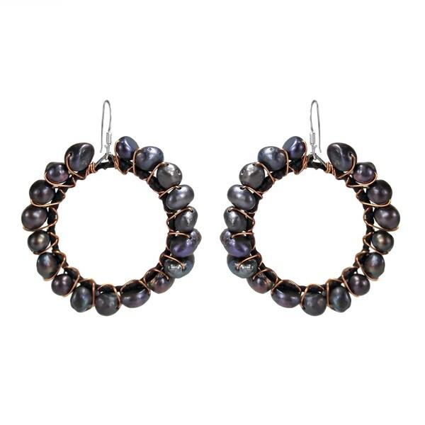 01a5e8e6e Handmade Silver and Copper FW Black Pearl Dangle Earrings (Thailand)