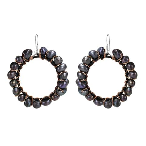 Handmade Silver and Copper FW Black Pearl Dangle Earrings (Thailand)