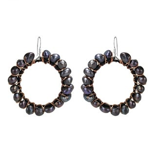 Handmade Silver and Copper FW Black Pearl Dangle Earrings (Thailand) - black-pearl