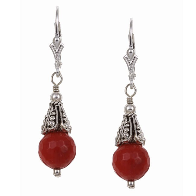 Charming Life Sterling Silver Red Sea Bamboo Coral Earrings