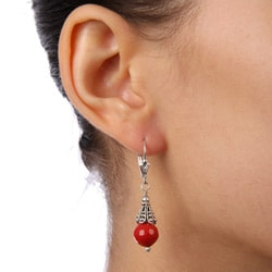 Sterling Silver Red Sea Bamboo Coral Earrings