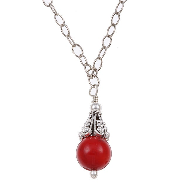 Lola's Jewelry Sterling Silver Red Sea Bamboo Coral Necklace