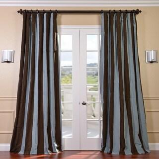 Exclusive Fabrics Signature Stripe Chocolate/ Blue Faux Silk Taffeta Curtain Panel (84 in.)