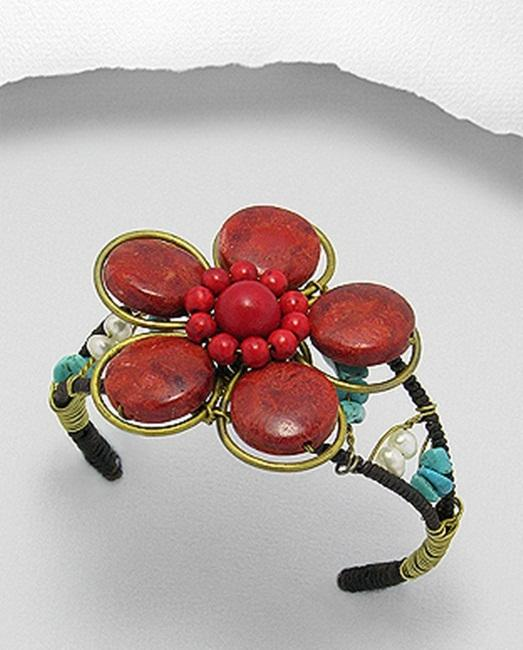 Brass Red Coral and Turquoise Flower Cuff Bracelet (Thailand)