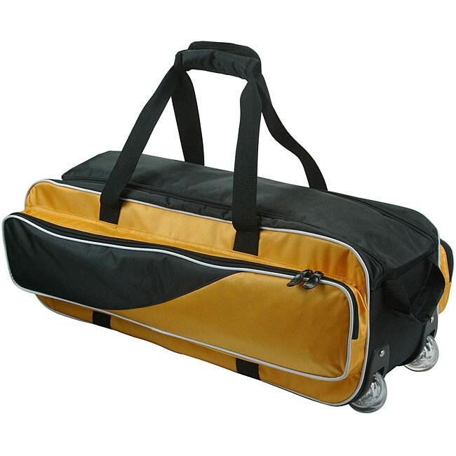 TNT Three-ball Durable Nylon Padded Black/Gold Rolling Bowling Bag