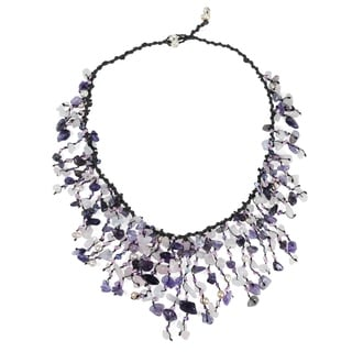 Handmade Cotton Amethyst/ Quartz/ Pearl Waterfall Necklace (3-5 mm) (Thailand)