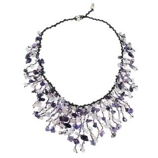 Handmade Cotton Amethyst/ Quartz/ Pearl Waterfall Necklace (3-5 mm) (Thailand)