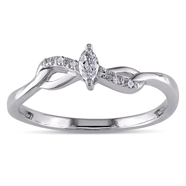 Miadora 10k Gold 1/10ct TDW Marquise Twist Diamond Promise Ring