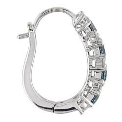 Miadora 10k White Gold 1/2ct TDW Blue and White Diamond Earrings