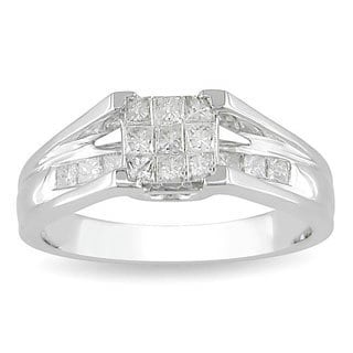 Miadora 10k White Gold 1/2ct TDW Diamond Ring (H-I, I2-I3)
