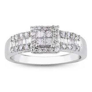 14k White Gold 1/2ct TDW Diamond Halo Engagement Ring (G-H, I1-I2)