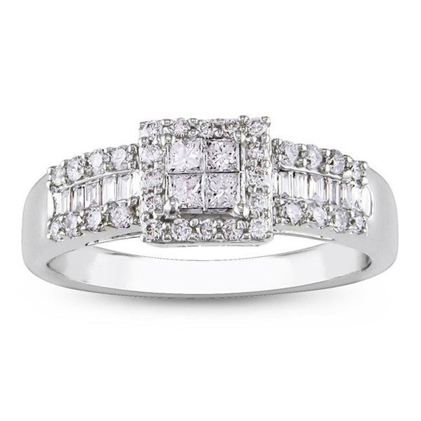 14k White Gold 1/2ct TDW Diamond Halo Engagement Ring (G-H, I1-I2)