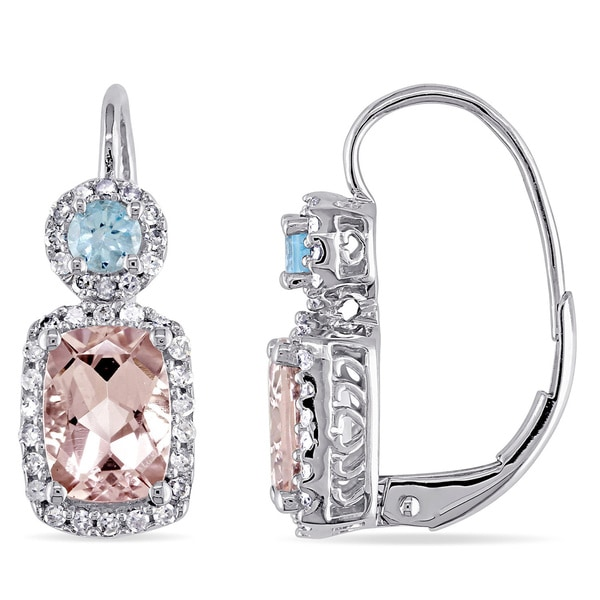 Miadora 10k Gold Morganite Blue Topaz 1/4ct TDW Diamond Earrings (H-I, I2-I3)