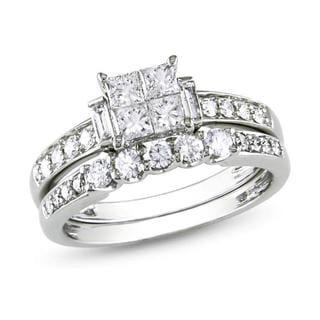 Miadora 14k Gold 1ct TDW Diamond Princess-cut Bridal Set (G-H, I1-I2)