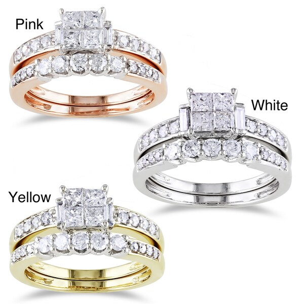 Miadora 14k Gold 1ct TDW Diamond Princess-cut Bridal Set (G-H, I1-I2)