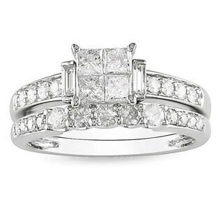 Miadora 14k Gold 1ct TDW Diamond Princess-cut Bridal Set (G-H, I1-I2) (Option: Yellow)