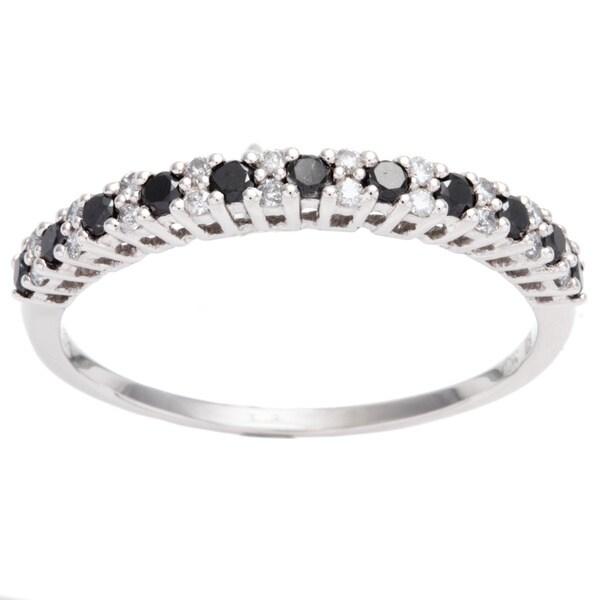 Miadora 10k Gold 1/2ct TDW Black and White Diamond Semi-eternity Ring