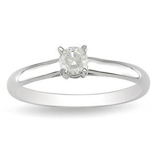 14k White Gold 1/4ct TDW Round Diamond Solitaire Promise Ring