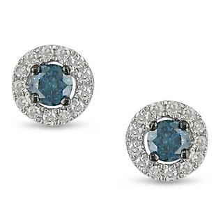 Miadora 10k White Gold 1/4ct TDW Blue and White Diamond Earrings
