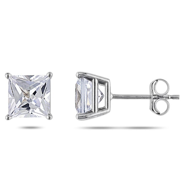 Miadora 10k Gold Created White Sapphire Solitaire Earrings