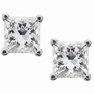 Montebello 14k White Gold 1ct TDW Certified Princess Diamond Stud Earrings (I-J, I1-I2)