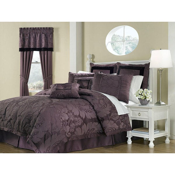 shop lorenzo purple 8 piece king size comforter set free shipping today overstock 5213052. Black Bedroom Furniture Sets. Home Design Ideas