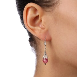 Charming Life Sterling Silver Pink Crystal Earrings