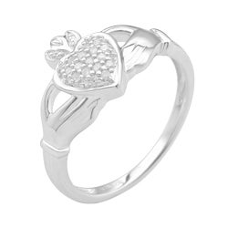 Sterling Silver 1/8ct TDW Diamond Claddagh Fashion Ring (H-I ,I3)