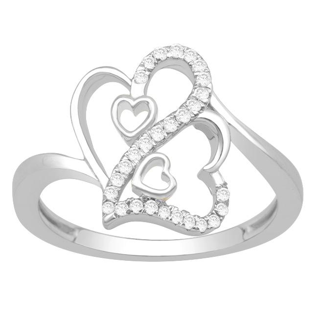 Sterling Silver 1/5ct TDW Diamond Double Heart Fashion Ring (H-I, I3)