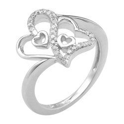 Sterling Silver 1/5ct TDW Diamond Double Heart Fashion Ring (H-I, I3) - Thumbnail 1